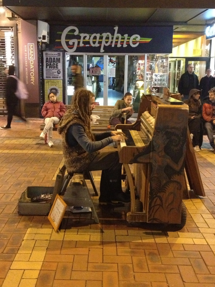A busker with a piano?!