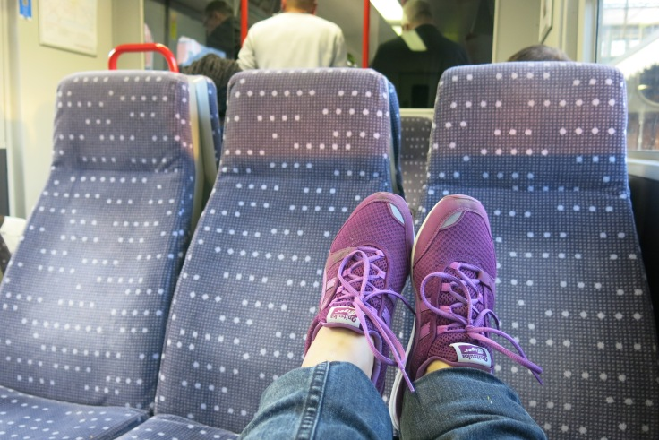 Resting feet while travelling on London's Train System