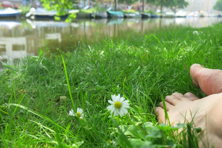Resting my sore feet on the banks of one of Amsterdam's many canals