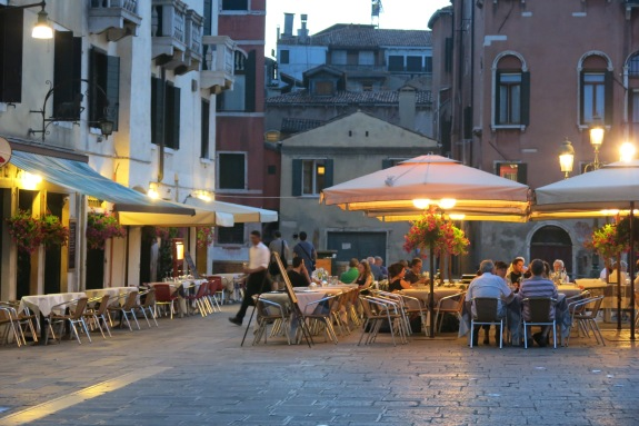 Al Fresco dining, under the stars and a few man-made lights.