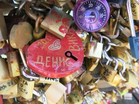 A colourful heart-shaped padlock (and a purple combination lock)