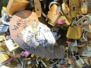 If you don't have a padlock, just write on one of the big metal hearts that were placed there by other lovers.