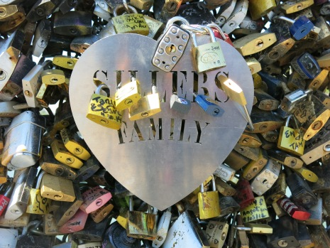 Another of those metal hearts - this one's for a family. Lovers still found a way to attach their locks on to it.