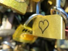 Hand-drawn heart on a lock