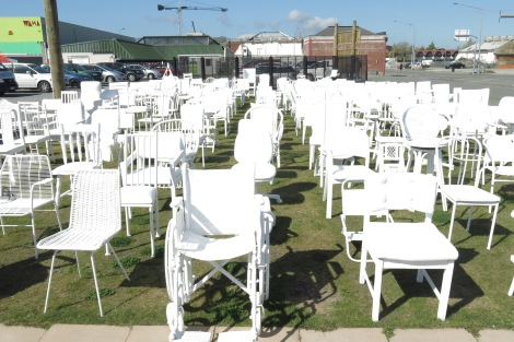 185 White Chairs - to commemorate the 185 people who died in the 2011 quake