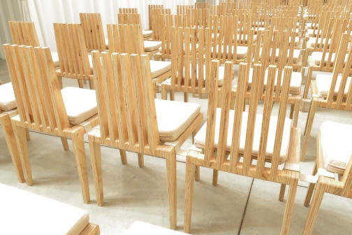 MDF Chairs (instead of traditional pews)