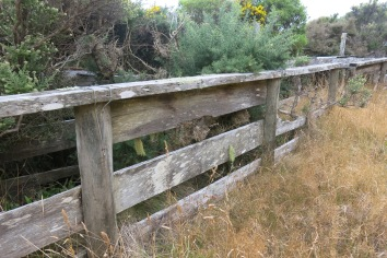 A fence on a relatively flat surface on the track.