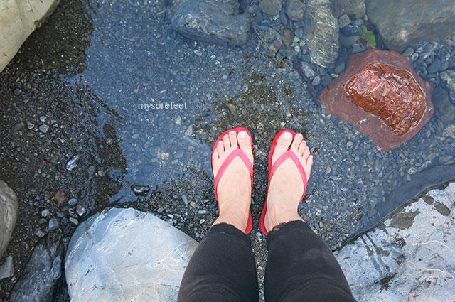 Soaking my sore feet in the Waiohine River