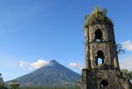 Mount Mayon and the Cagsawa Bell Tower