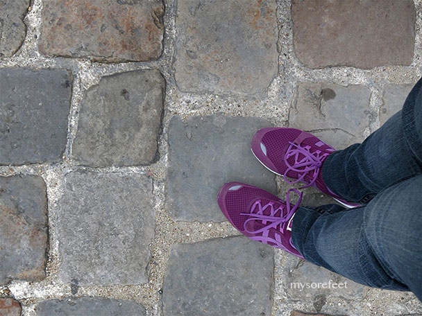 My sore feet on the cobblestone path that leads to Versailles.
