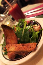 Beetroot salad with hazelnuts and feta cheese and crostini