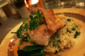 Fish of the day on Risotto and vegetables