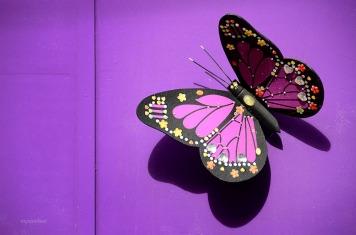Purple butterfly wall decor