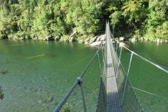 crossed a swing bridge