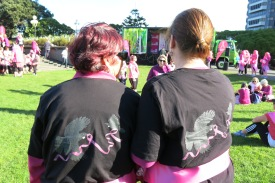 Pink Walkers wearing Iska's Pink Ribbon Design! (available from Red Bubble)