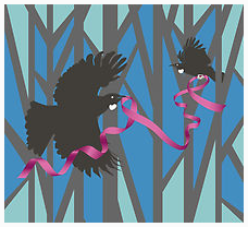 Pink Ribbon Tui in Forest