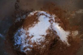 mixing flour and cocoa and baking powder