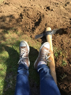 Me, digging up the yard